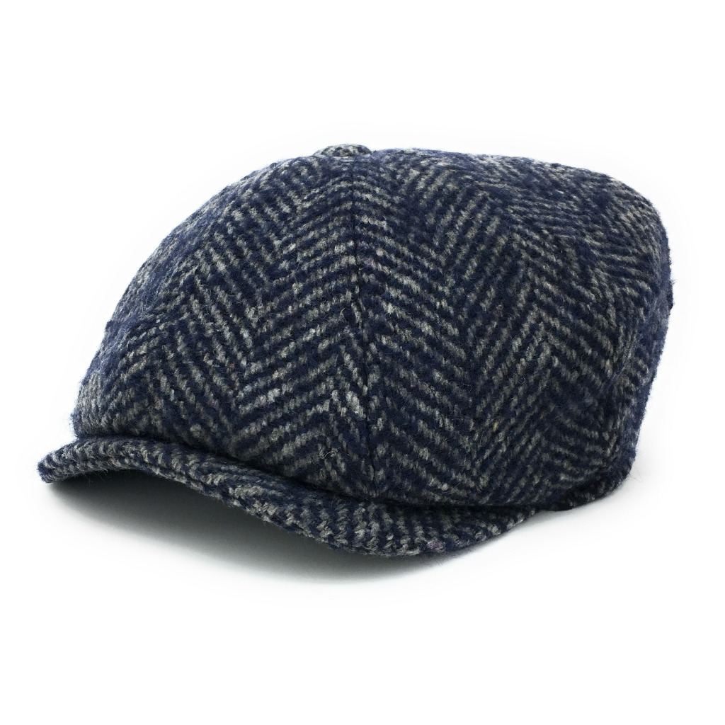 Chunky Tweed Herringbone Newsboy Cap