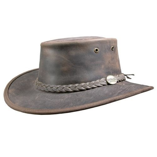 Barmah Bronco Foldaway Leather Outback Hat - 1060 - Brown