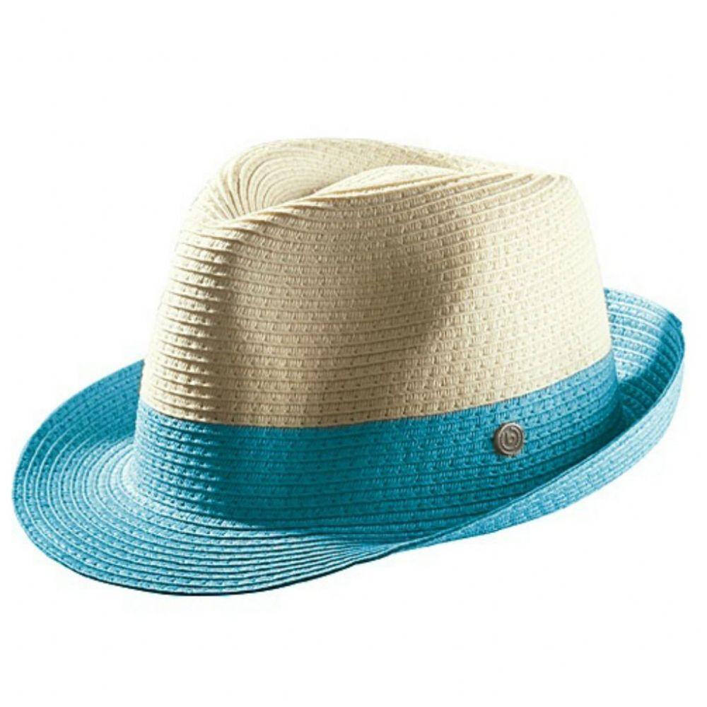 with feather band Small medium to large avail BLACK /& WHITE STRAW TRILBY HAT