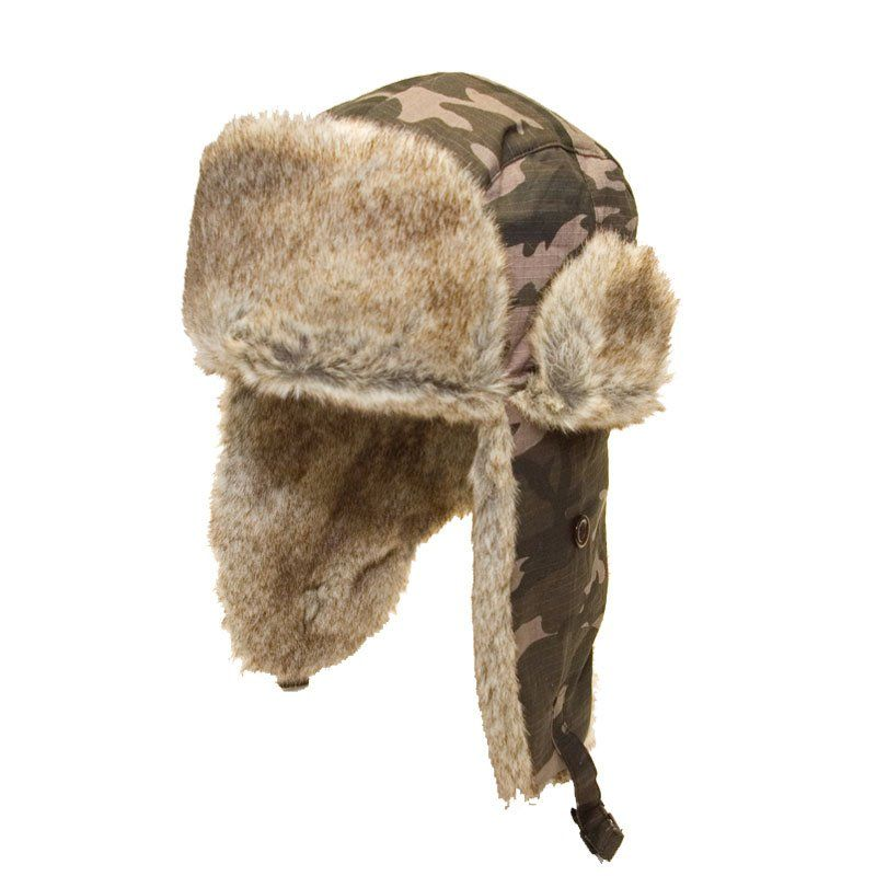 Camouflage Trapper Hat with Faux Fur Lining 26f8e9e2acb