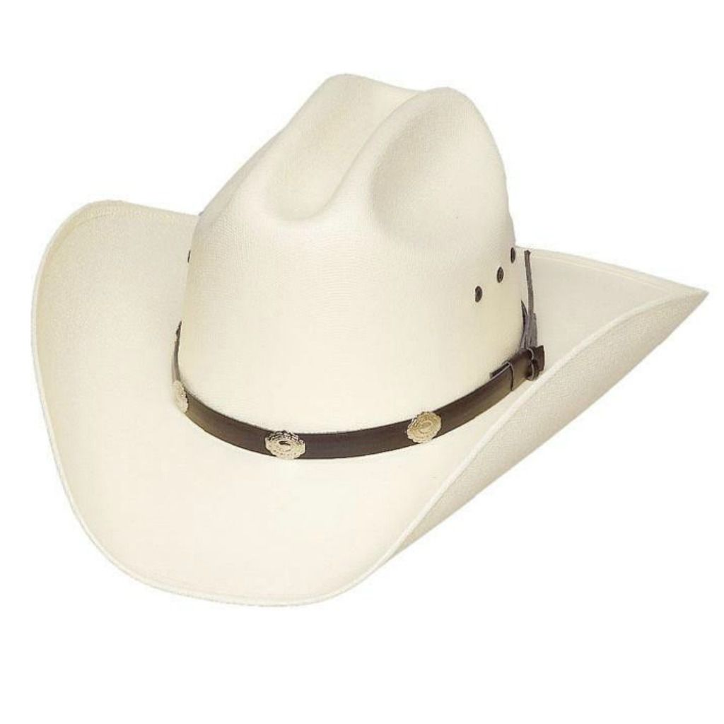 Cattleman Cowboy Hat with Concho Faux Leather Band - Off-White 8f9ac6549d00