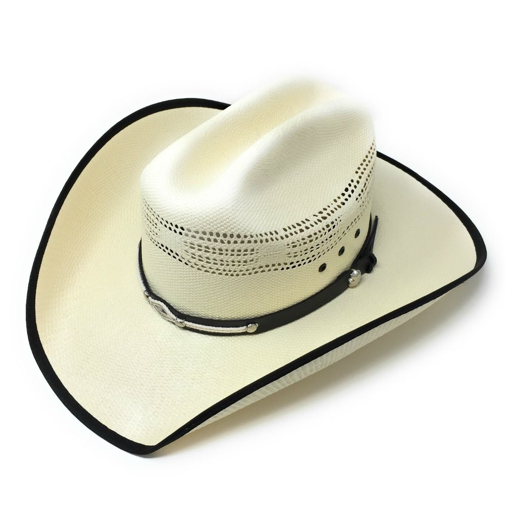 77ce81f83 Cream Cowboy Hat with leather & rope trim - Bangora Straw