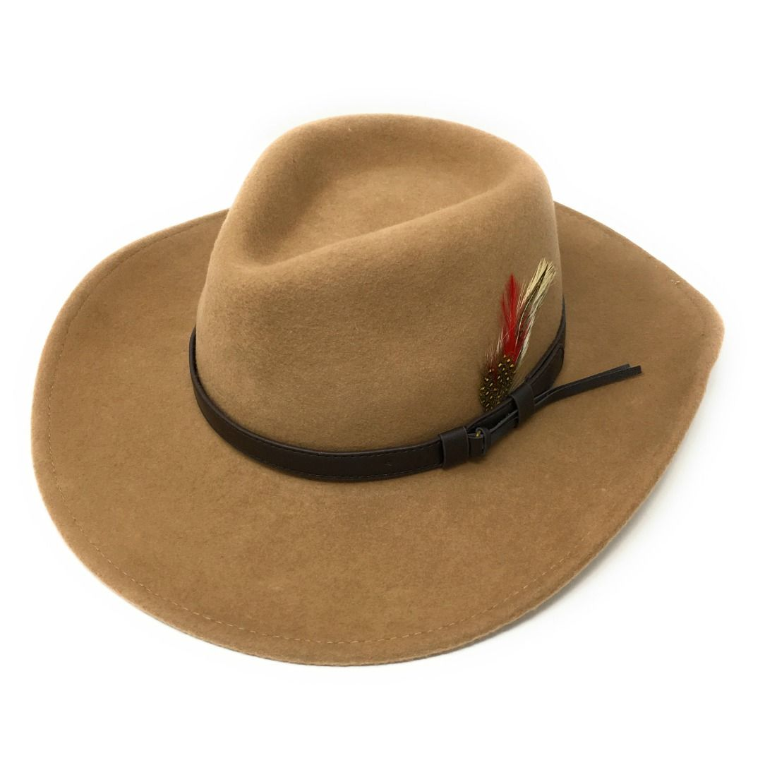 7d146e34908 Fedora Cowboy Hat Crushable Safari with Removable Feather - Camel