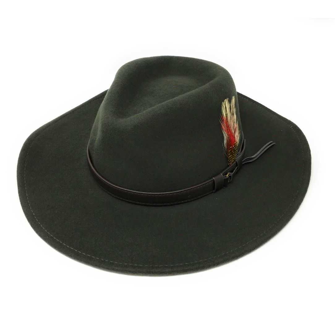 08319fe94 Fedora Cowboy Hat Crushable Safari with Removable Feather - Dark Green