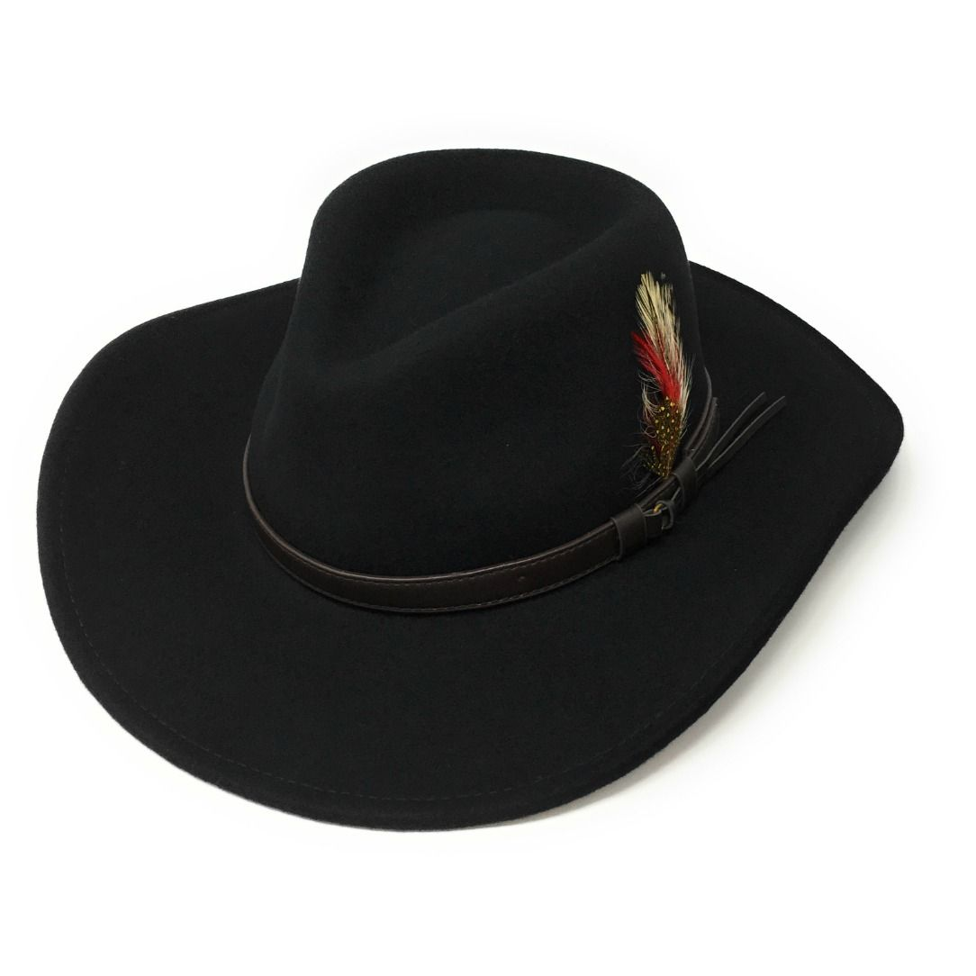 93bb4c0c5 Fedora Cowboy Hat Crushable Safari with Removable Feather - Dark Green