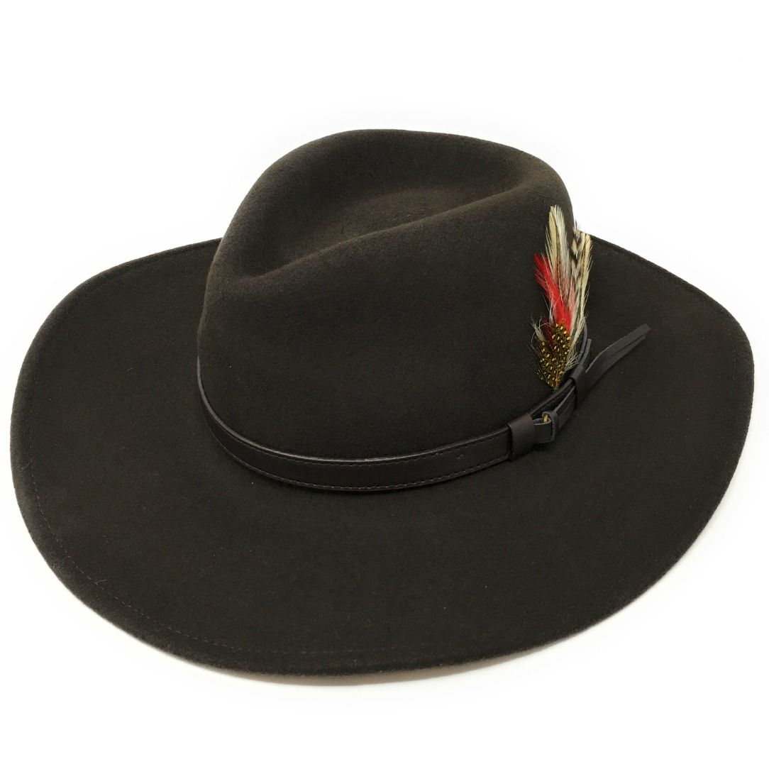 Fedora Cowboy Hat Crushable Safari with Removable Feather - Dark Green 4b6490931dc