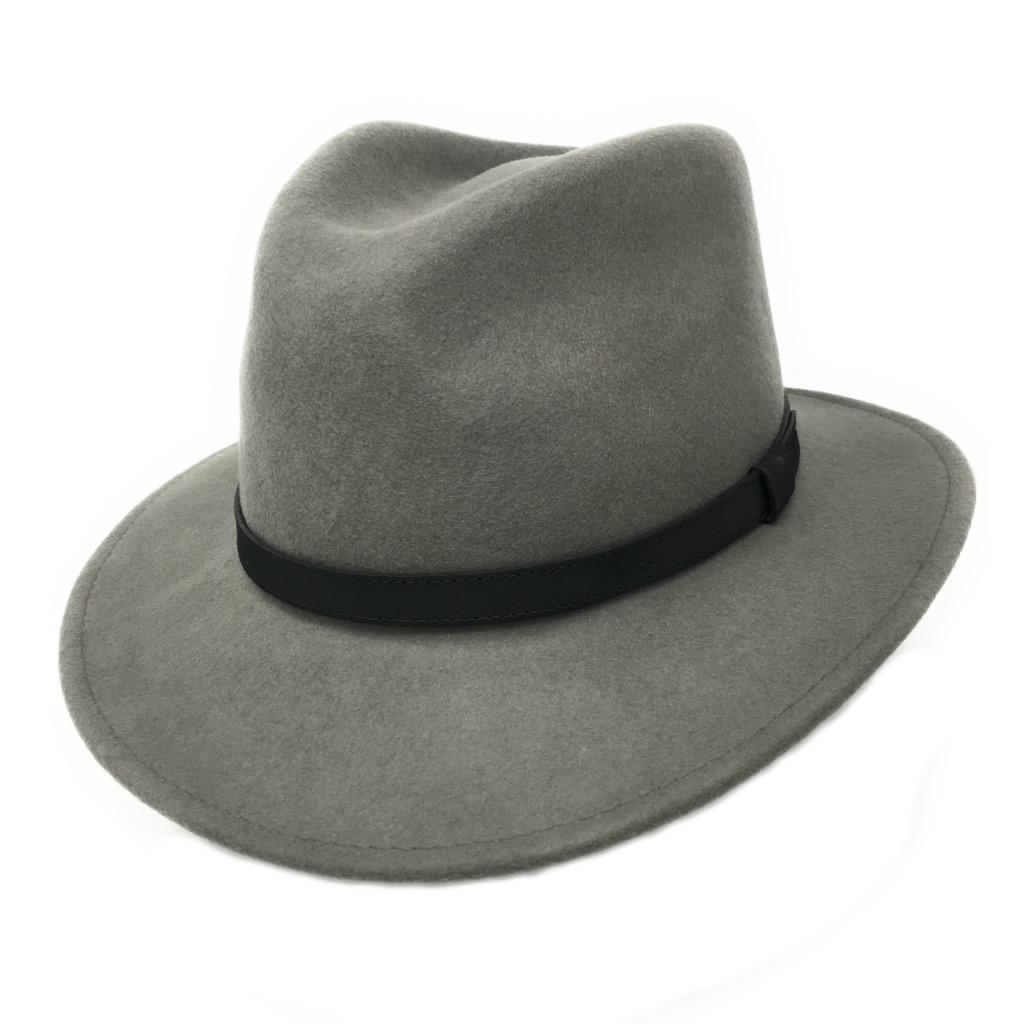 5d6caf428ceb19 Fedora Hat Crushable Wool Felt with leather band - Grey - Haydock