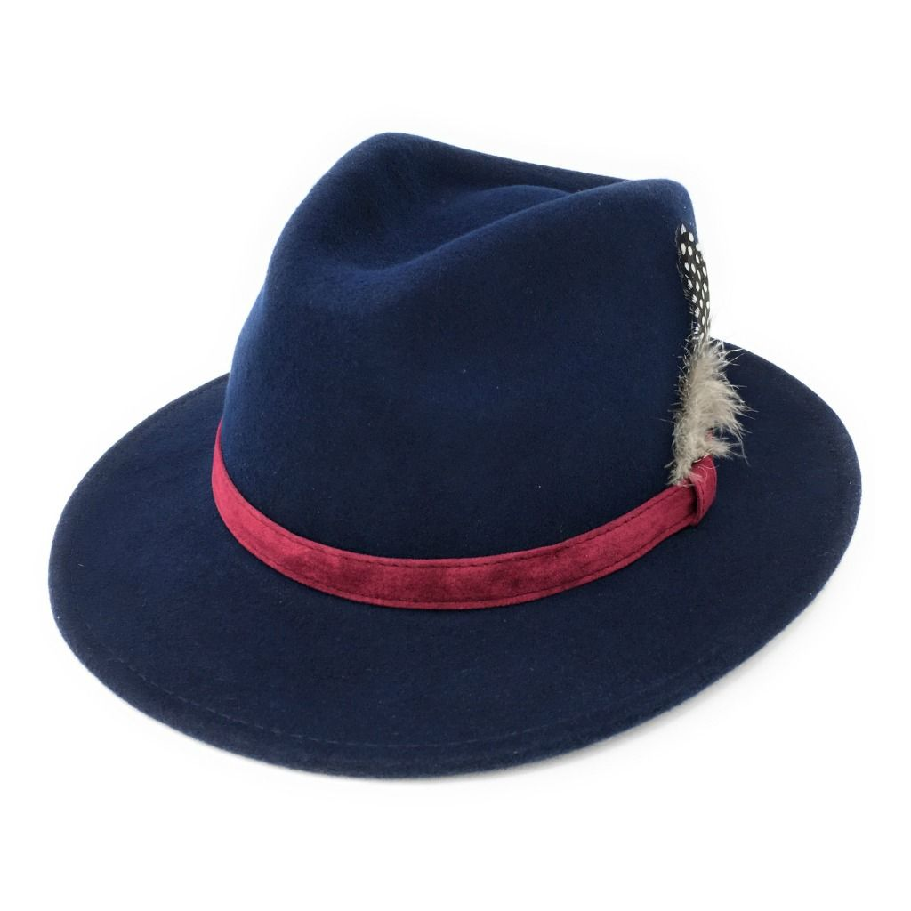 8d27a8ec48341 Fedora Hat  Navy with Raspberry Velvet Band and Removable Feather
