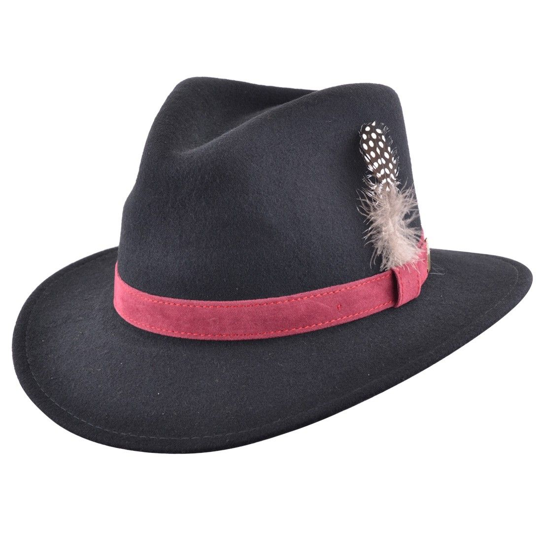 1bb805d410bd5 Fedora Hat Navy with Raspberry Velvet Band and Removable Feather