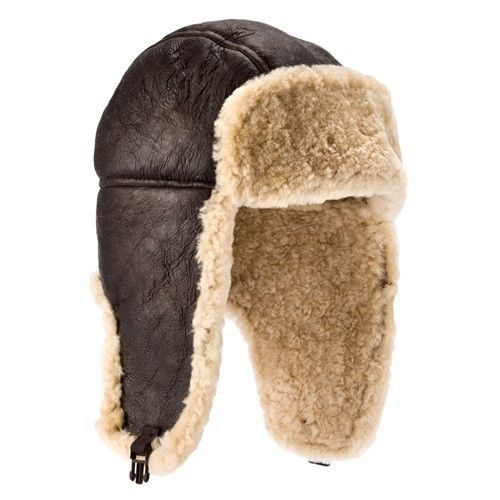 Genuine Sheepskin Leather Hand Crafted Aviator Trapper Hat