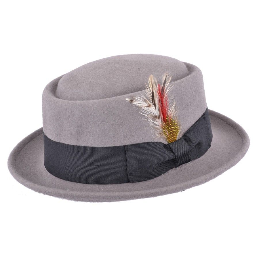 5e85cf090f0 Grey Pork Pie Hat Wool Felt