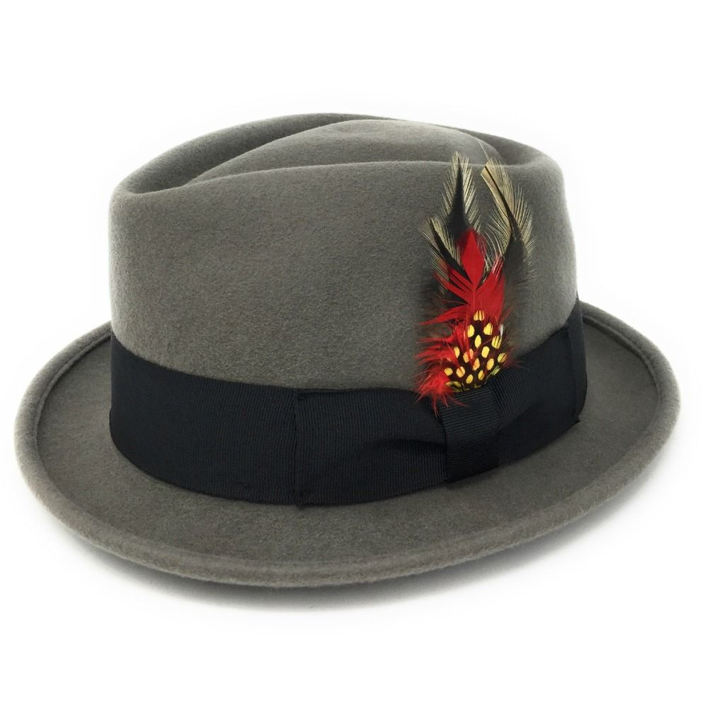 XXL Grey Cotswold Country Hats.... Luxurious Premium Wool S Black Lined Brown L Removable Feather M Diamond Crown Navy Pork Pie Hat XL