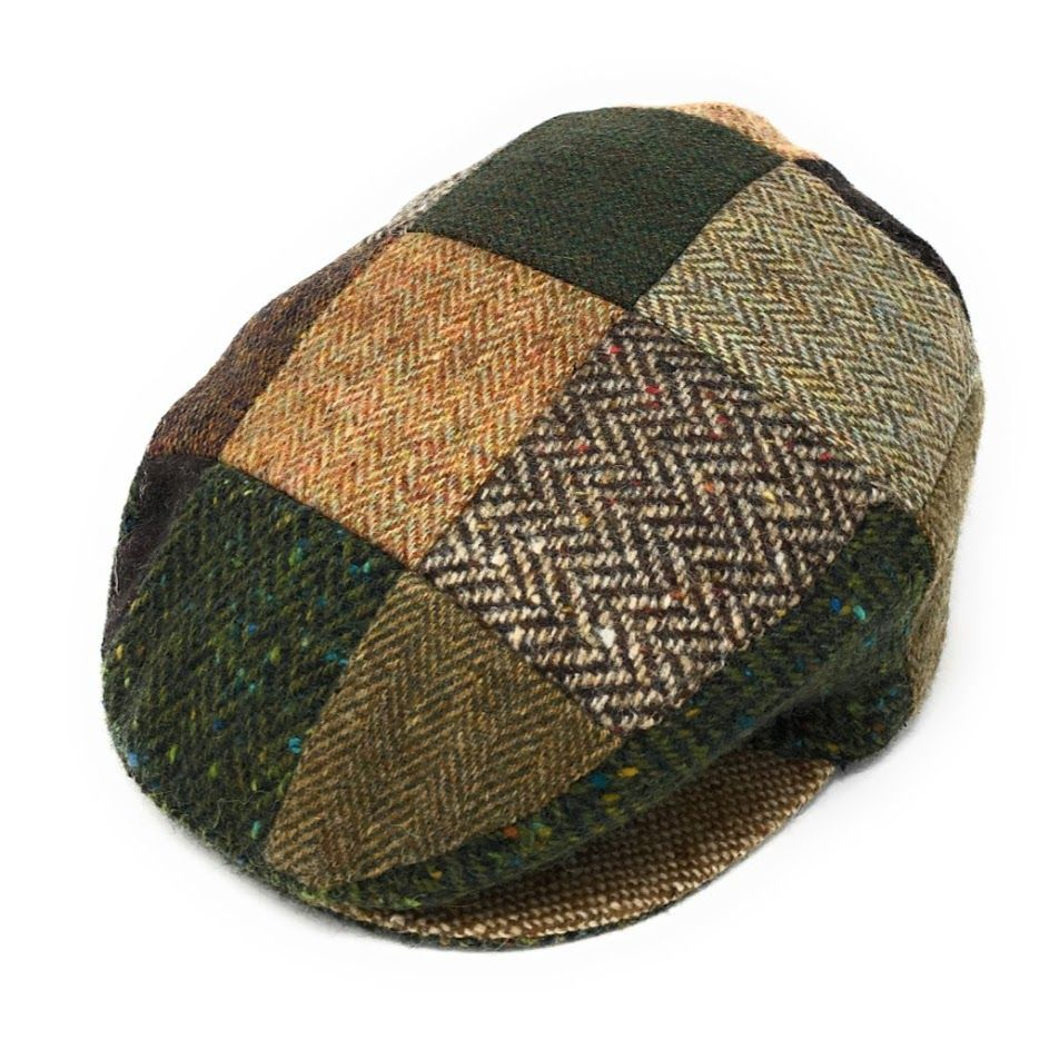 Hats Of Ireland Mixed Patch Flat Cap - Green/Brown