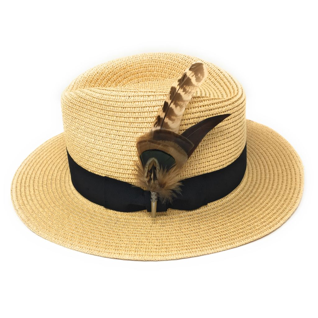 82d34abadbbbee Ladies Panama Style Summer Hat with Removable Feather Brooch - Natural -  Dovecote