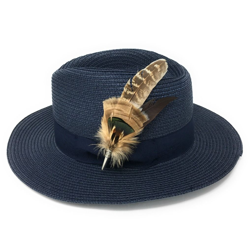 b69cfe2d5173c1 Ladies Panama Style Summer Hat with Removable Feather Brooch - Navy -  Dovecote