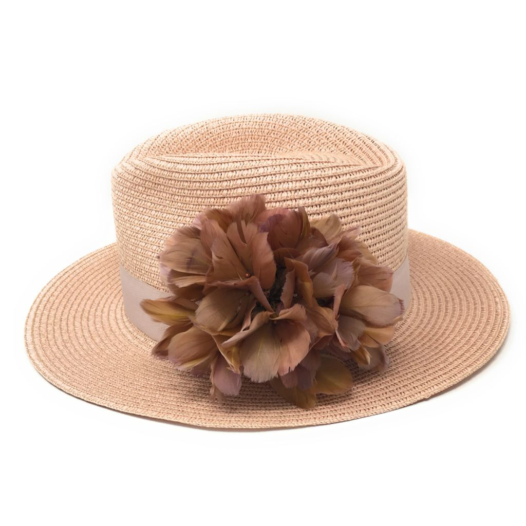 2b77ef8d2a5 Ladies Pink Summer Fedora Hat with Feather Flower - Bibury