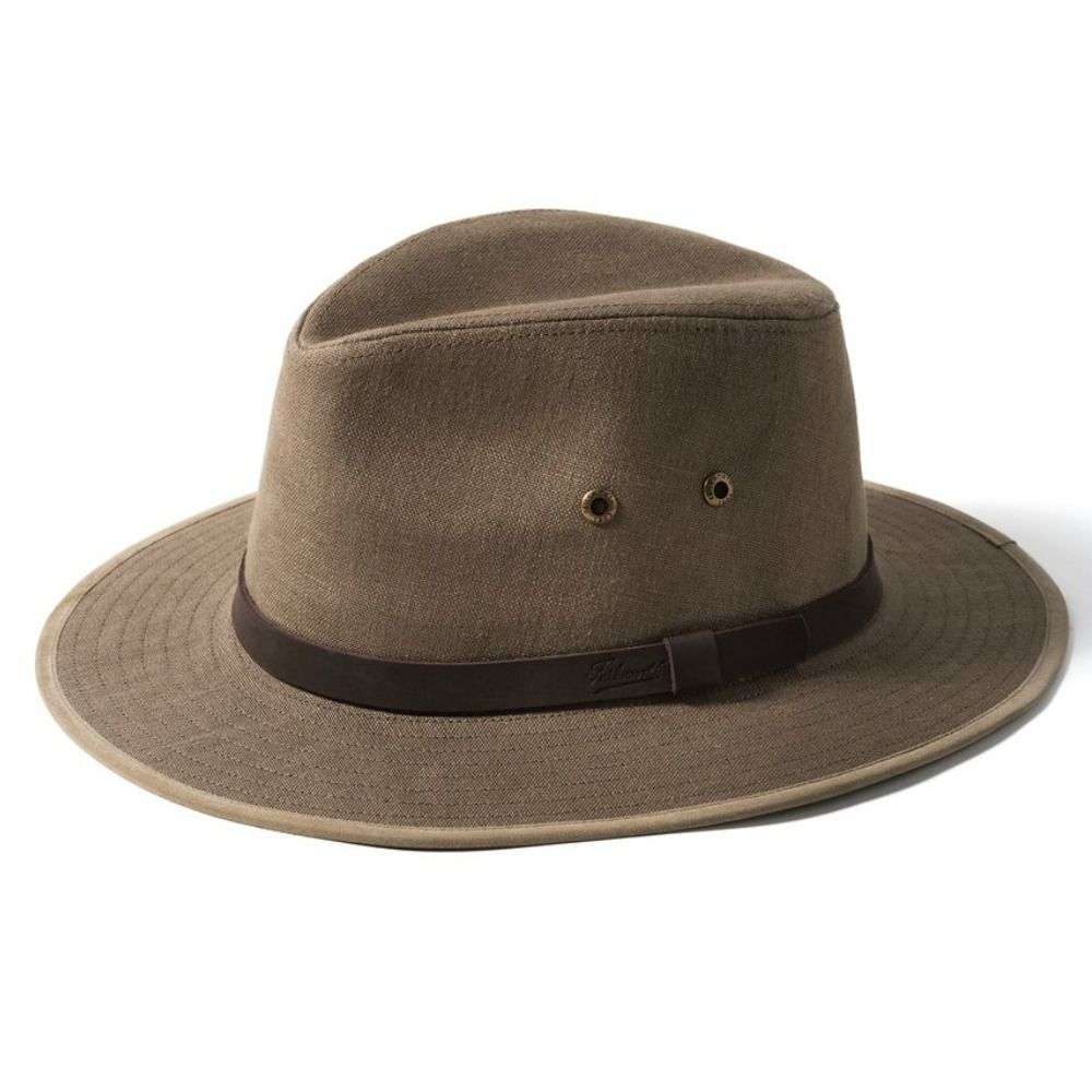 Linen Summer Fedora Outback Hat Failsworth Safari- Brown