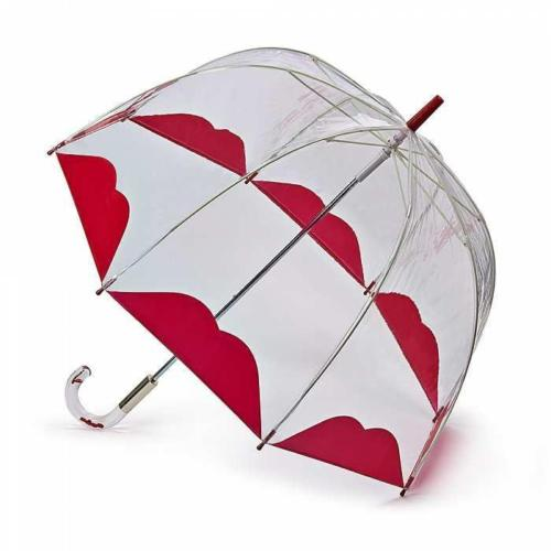 Lulu Guinness Half Lip Birdcage Umbrella. Clear with red lips