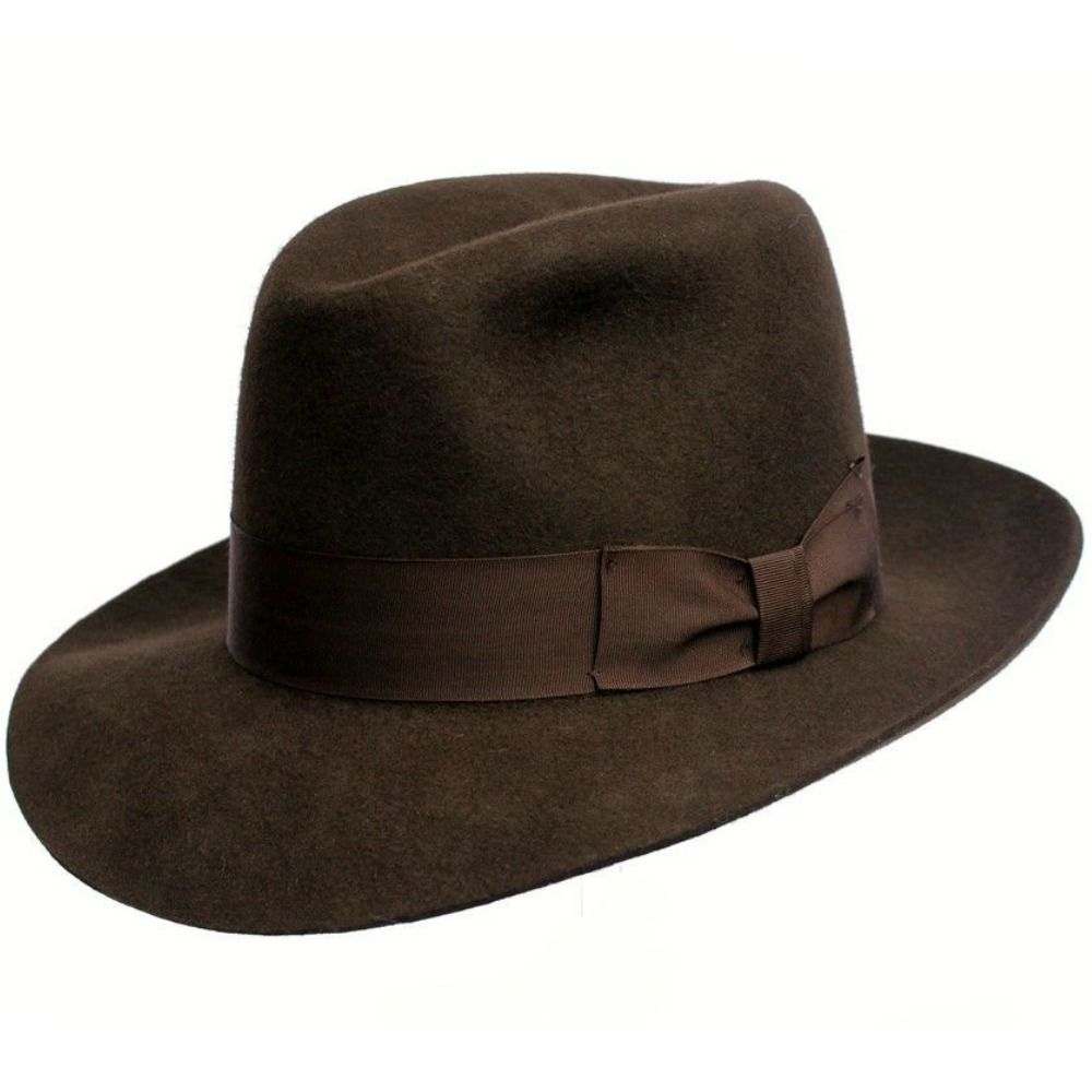 Mens Superb Quality Lined Fedora Hat - Indiana Jones Style - Brown - Wool  Felt 794bc639734
