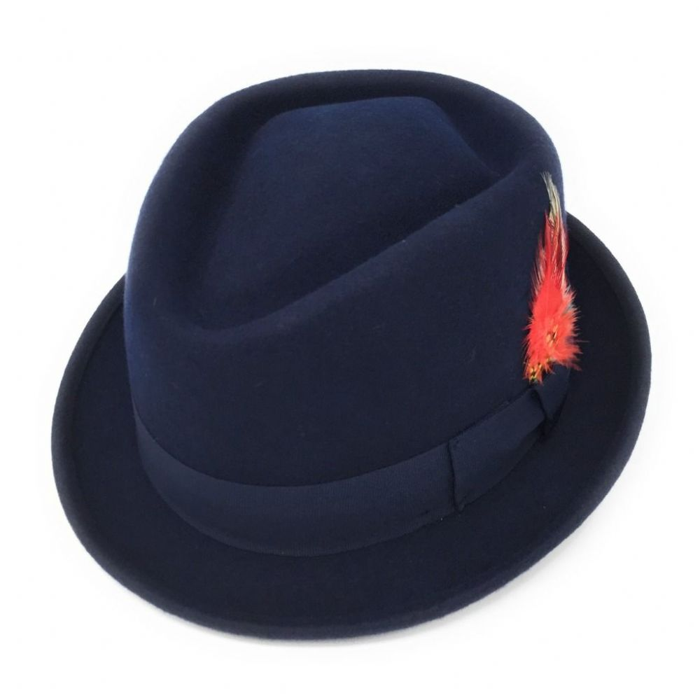 High Quality Hand Made MAROON Pork Pie Felt Trilby Hat 100/% Wool Satin Lined
