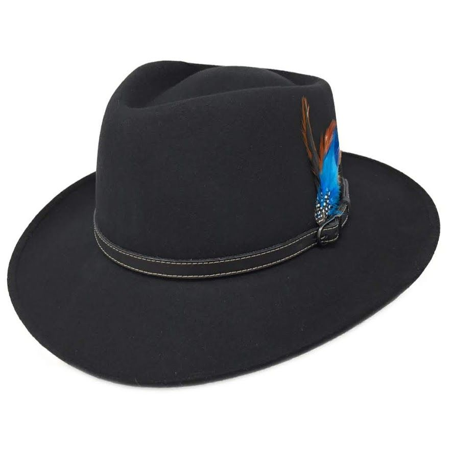 Outback Black Fedora Showerproof Hat