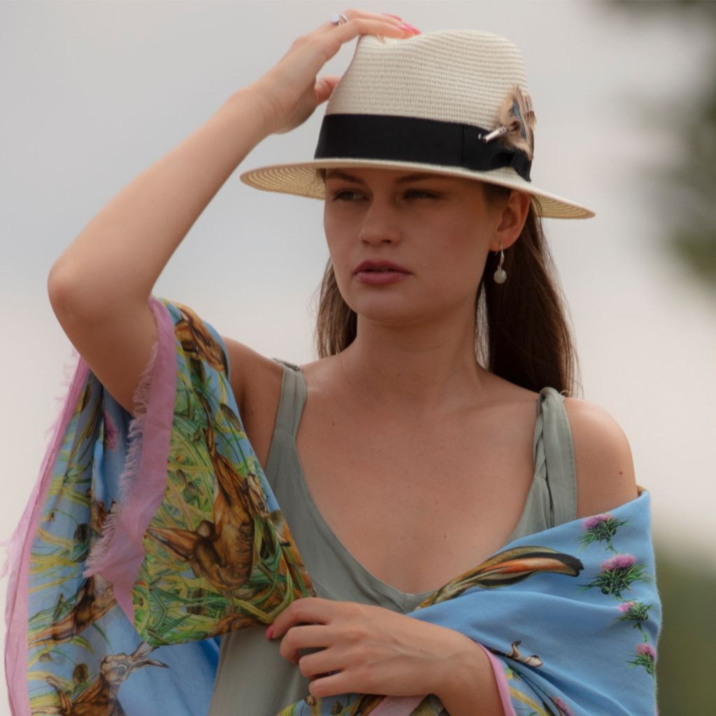 21f2135a0 Panama Style Summer Hat with Removable Feather Brooch - Dovecote