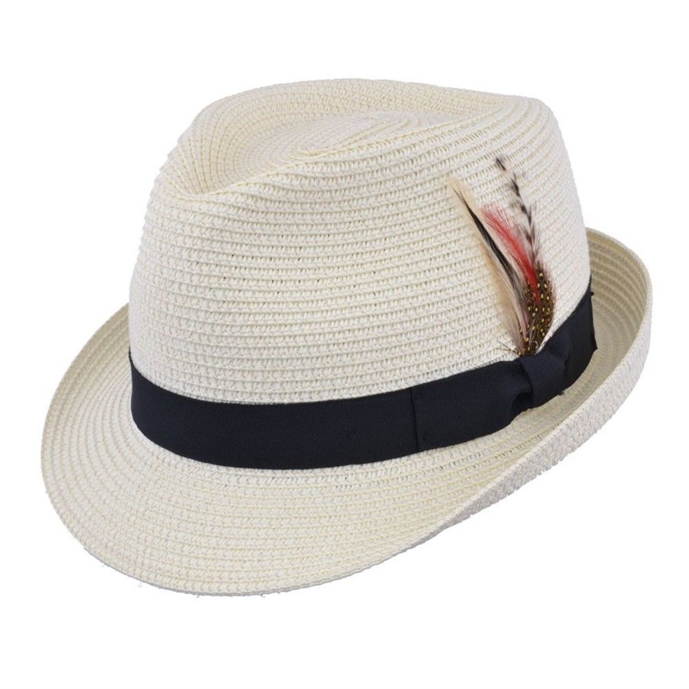 Straw Trilby Hat with Removable Feather - Cream