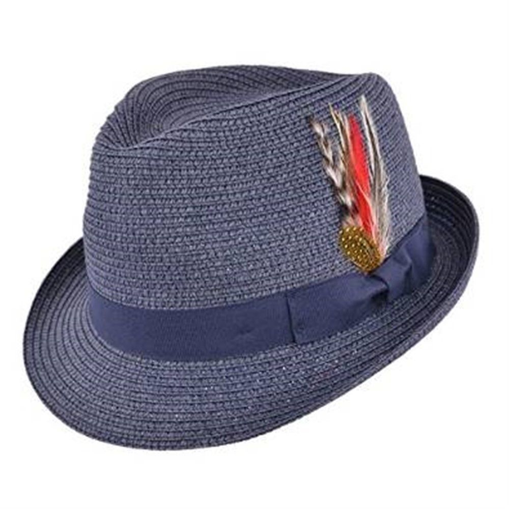 Straw Trilby Hat with Removable Feather - Navy
