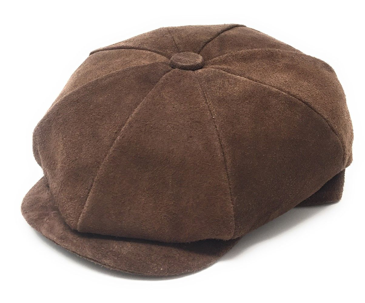 bac0a8d4 Suede Brown Gatsby Bakerboy Cap - Lined Peaky Blinders Style Cap