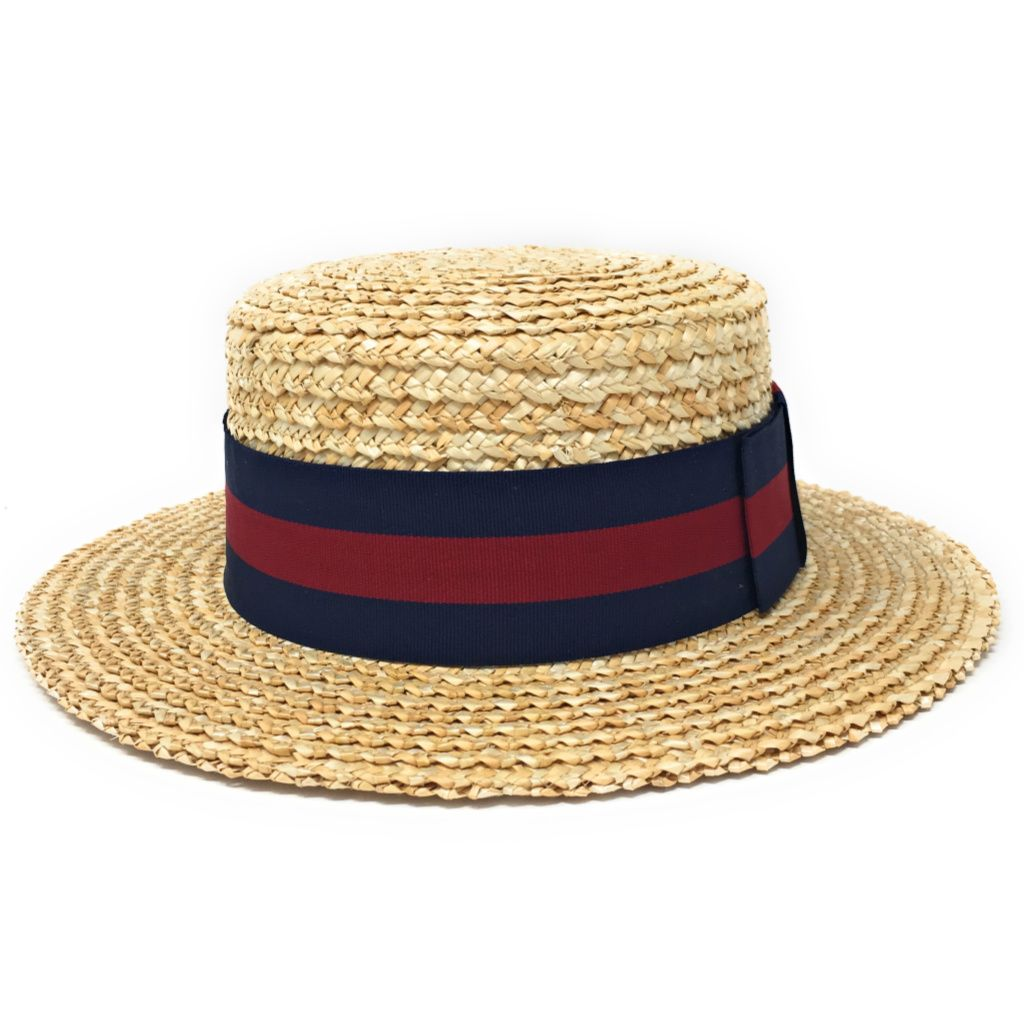 0a3bf990c3312 Traditional Straw Boater Hat with Navy   Burgundy Band