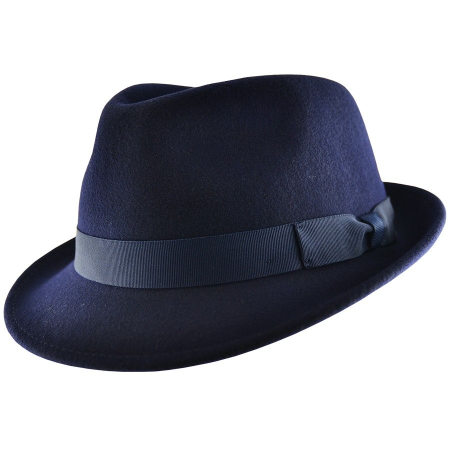 Trilby Hat: Handmade Wool Felt Crushable Camden - Navy
