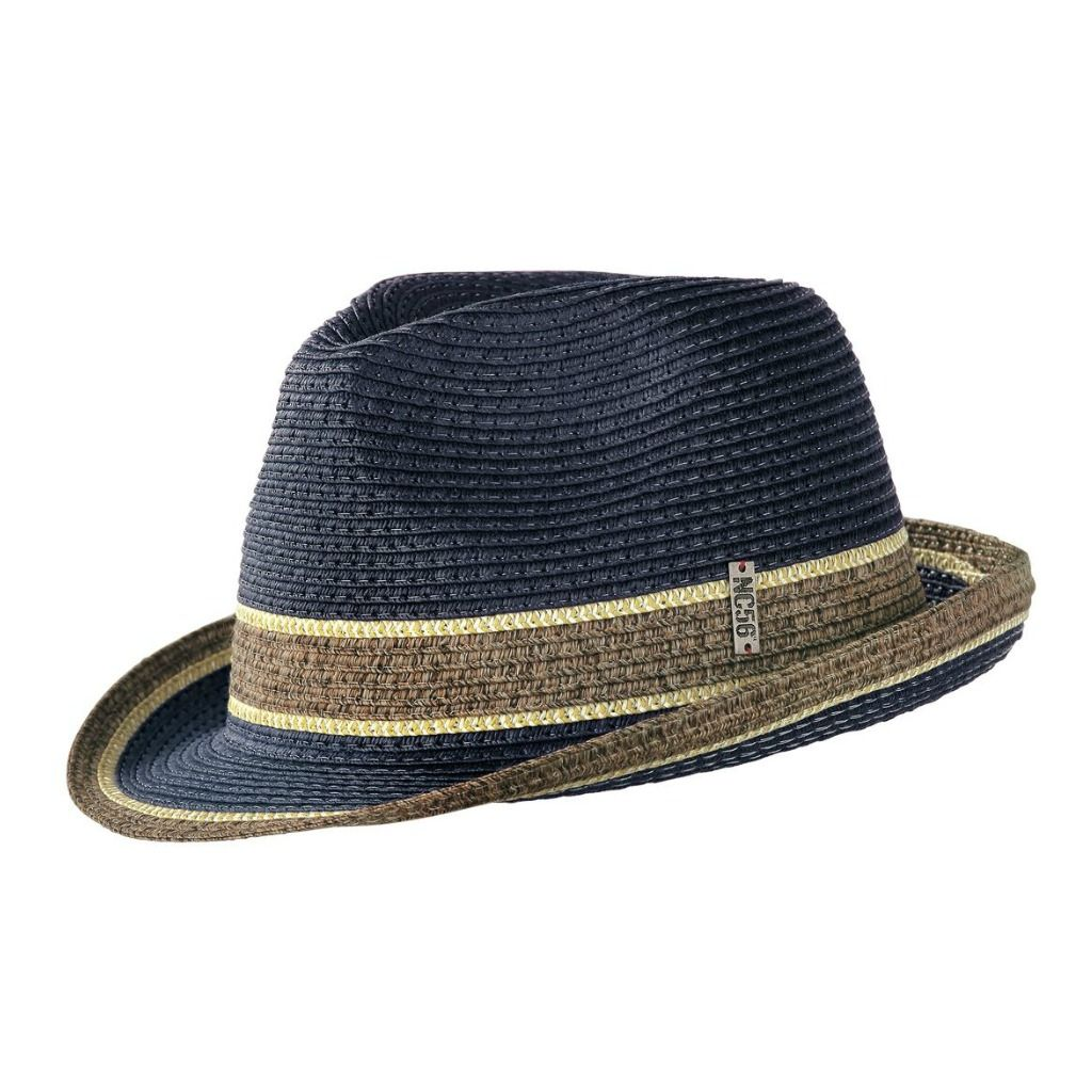 Wegener Navy Straw Trilby Hat with Brown Band 93d94b0eb64